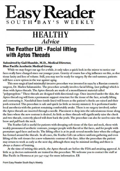 FeatherLift facial lifting with Aptos Threads journal banner