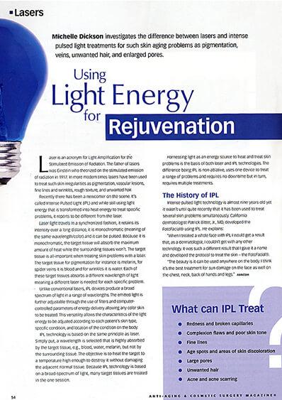 Light Energy for Rejuvenation journal banner