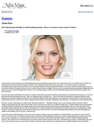 About-Face – New trends in cosmetic treatments journal banner