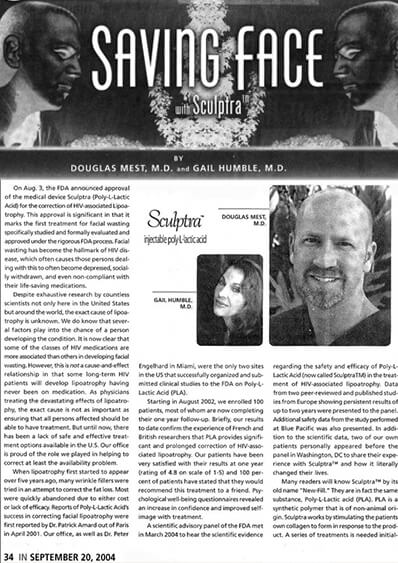 Saving Face with Sculptra, by Dr Mest and Dr Humble journal banner